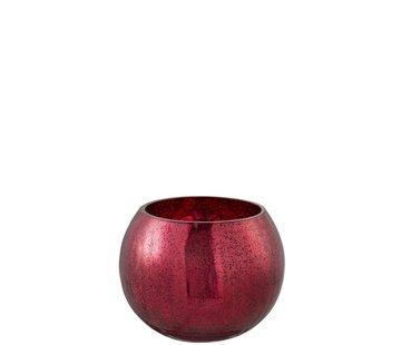 J-Line Theelichthouder Bol Glas Blinkend Rood - Medium