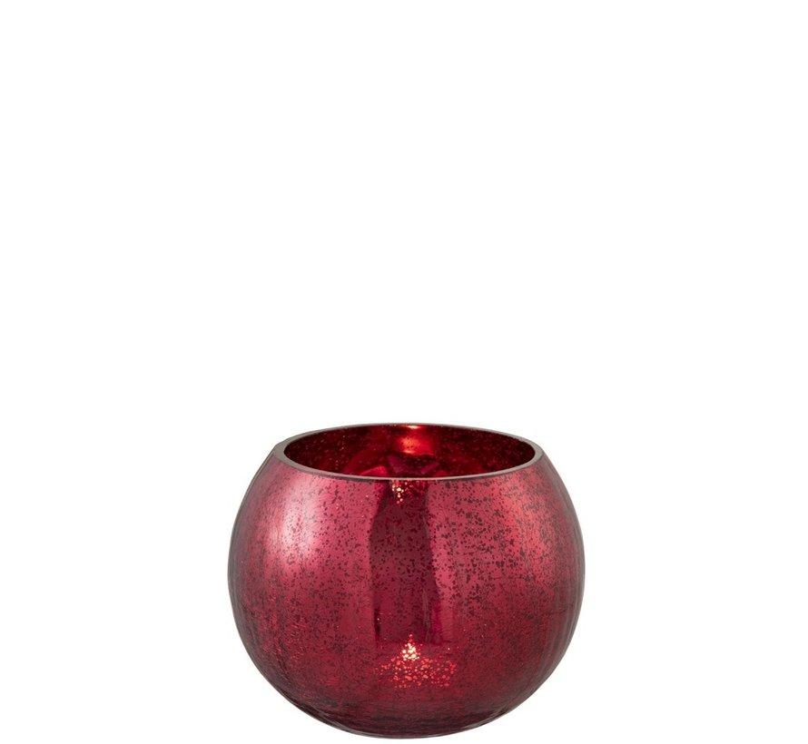 Theelichthouder Bol Glas Blinkend Rood - Medium