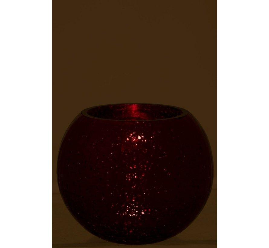 Theelichthouder Bol Glas Blinkend Rood - Large