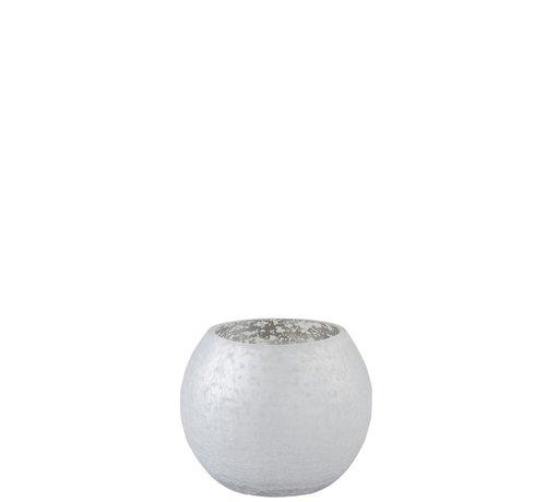 J -Line Theelichthouder Bol Glas Blinkend Zilver - Small