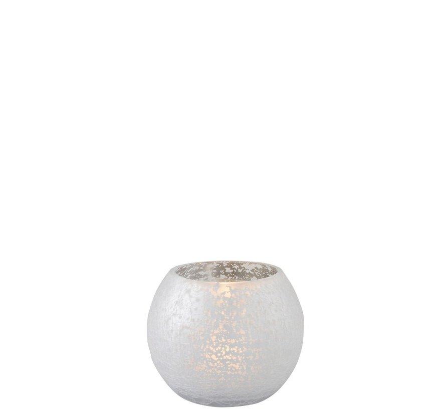 Theelichthouder Bol Glas Blinkend Zilver - Small