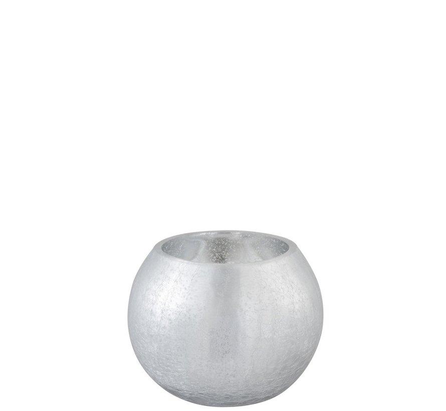 Theelichthouder Bol Glas Blinkend Zilver - Medium