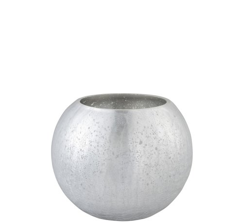 J -Line Theelichthouder Bol Glas Blinkend Zilver - Large