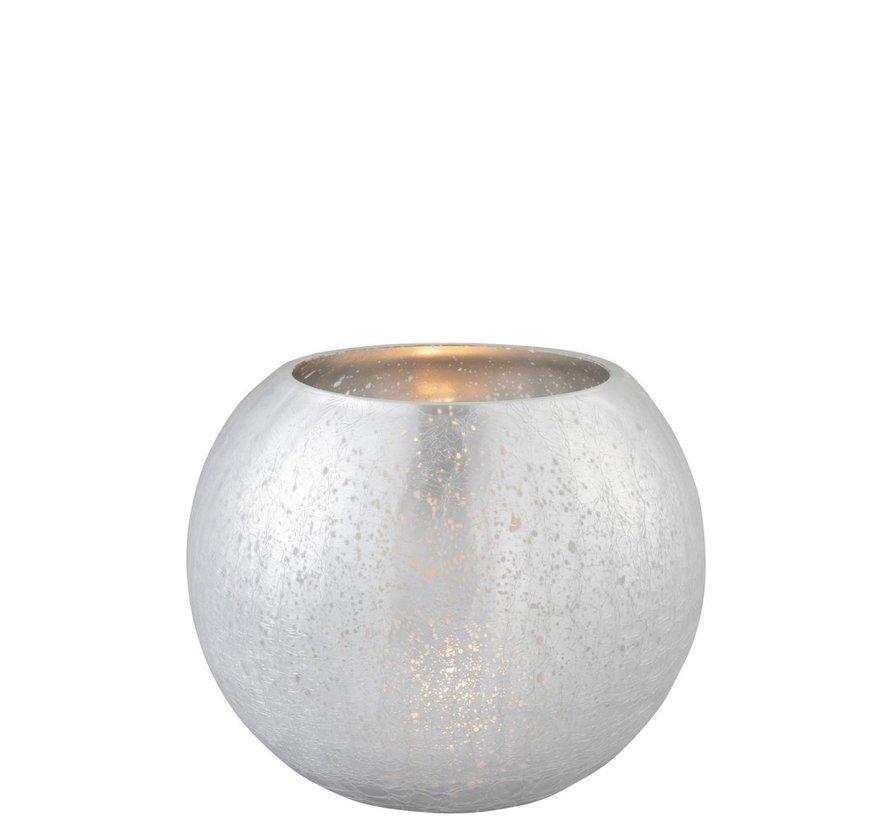 Theelichthouder Bol Glas Blinkend Zilver - Large