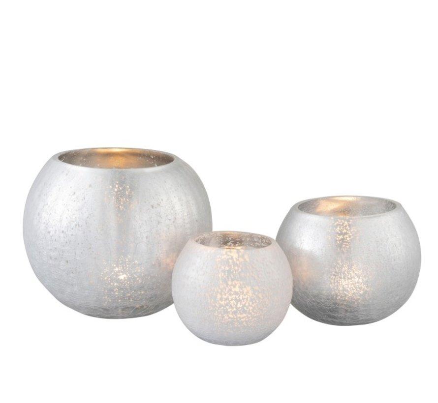 Tealight holder Bulb Glass Shiny Silver - Large