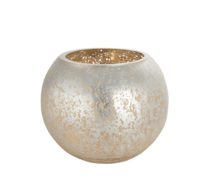 Theelichthouder Bol Glas Zilver Goud- Large