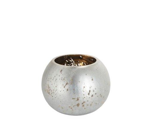 J -Line Theelichthouder Bol Glas Zilver Goud - Medium