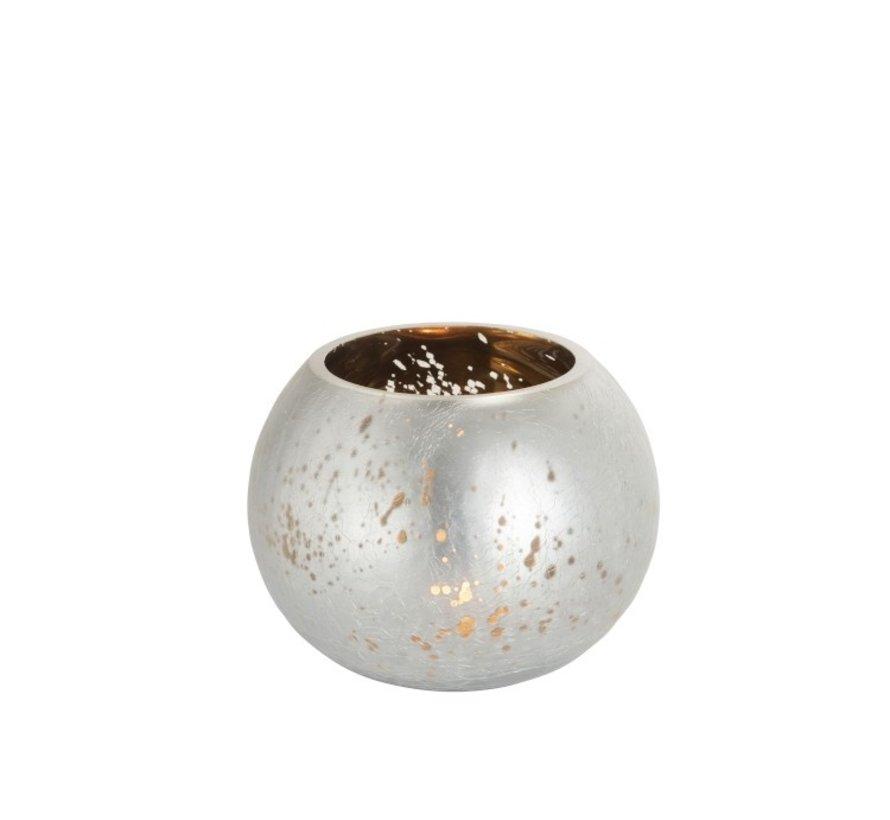 Theelichthouder Bol Glas Zilver Goud - Medium