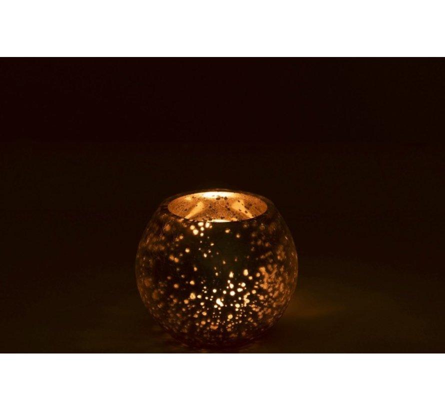 Theelichthouder Bol Glas Zilver Goud - Small