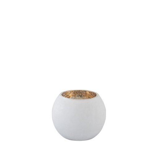 J -Line Theelichthouder Bol Glas Wit Goud - Small