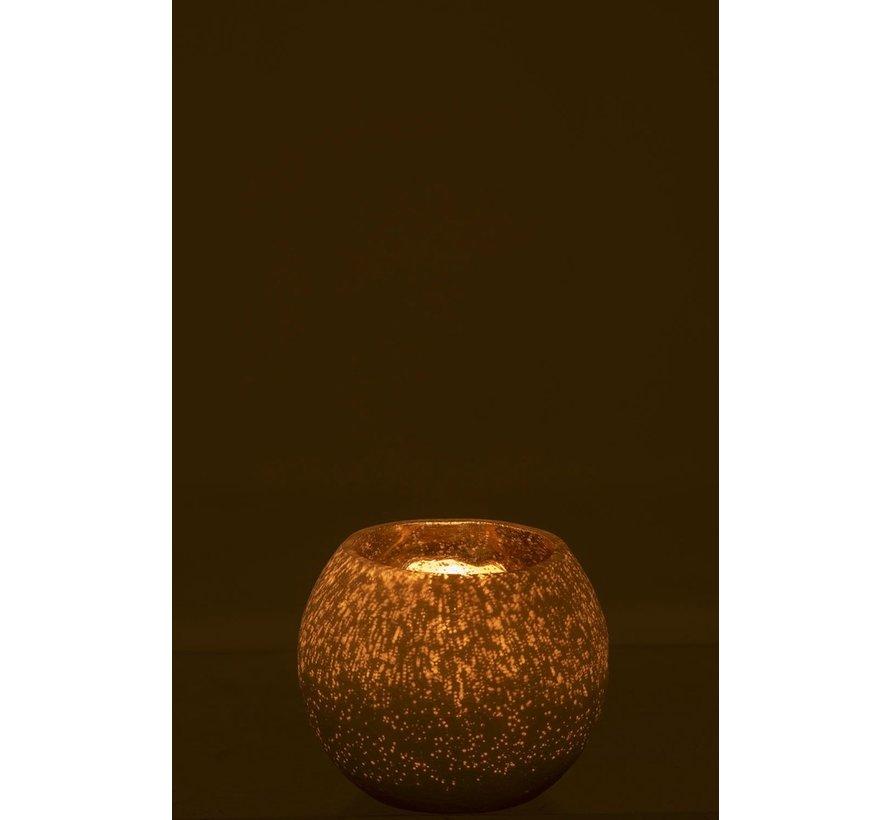 Theelichthouder Bol Glas Wit Goud - Small