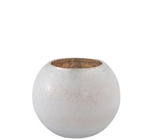 J-Line Tealight holder Bulb Glass White Gold - Large