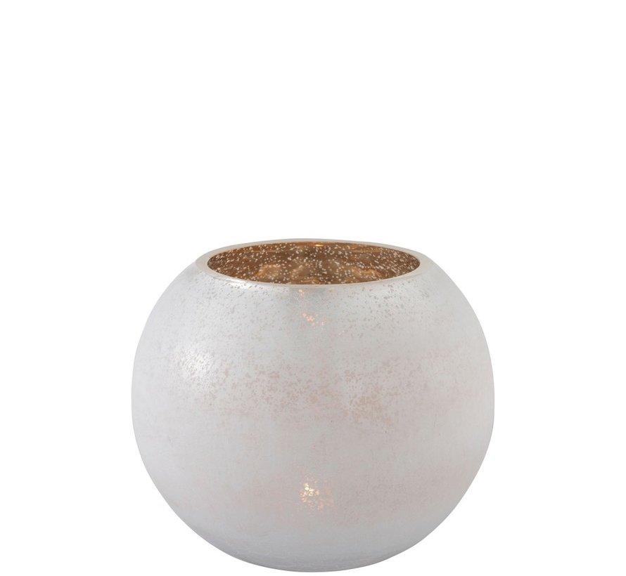 Theelichthouder Bol Glas Wit Goud - Large