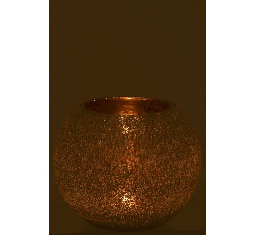 Tealight holder Bulb Glass White Gold - Large