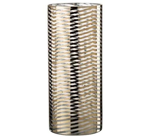J -Line Theelichthouder Cilinder Glas Strepen Goud - Large
