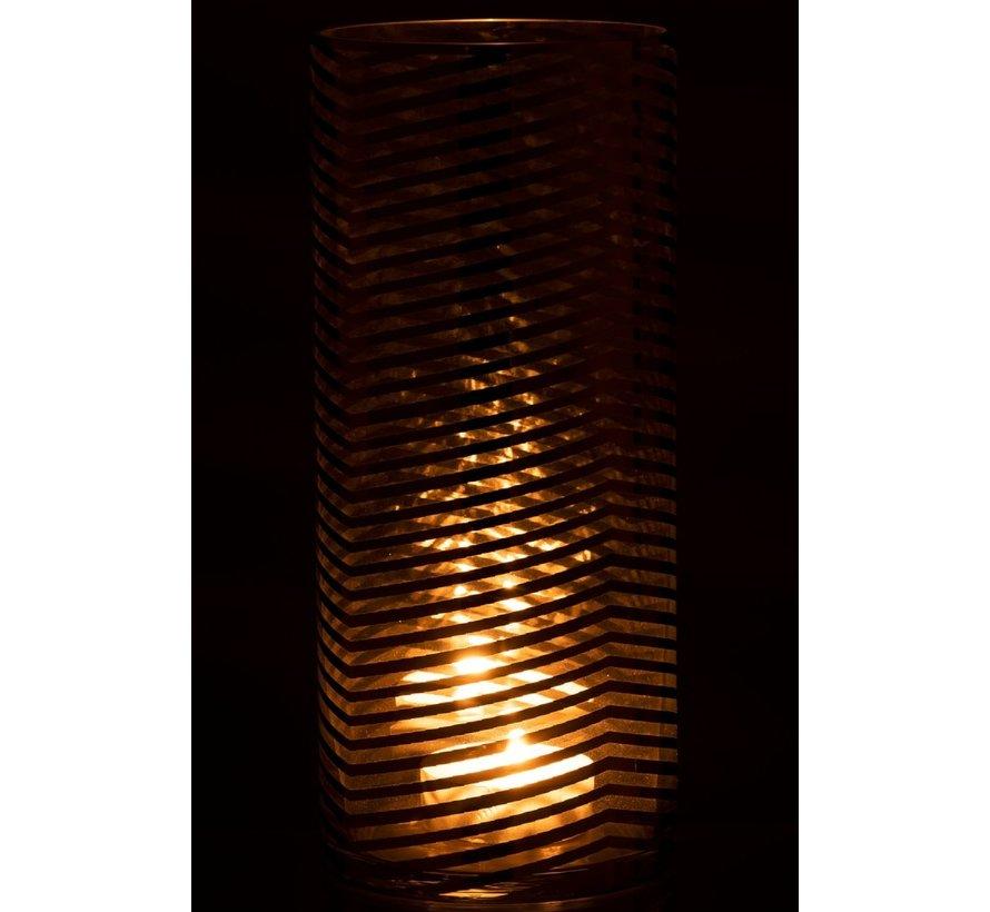 Theelichthouder Cilinder Glas Strepen Goud - Large