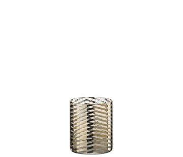 J-Line Tealight Holder Cylinder Glass Stripes Gold - Small