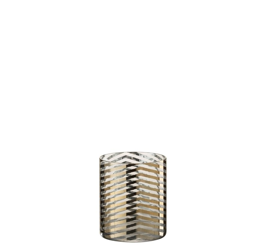Tealight Holder Cylinder Glass Stripes Gold - Small