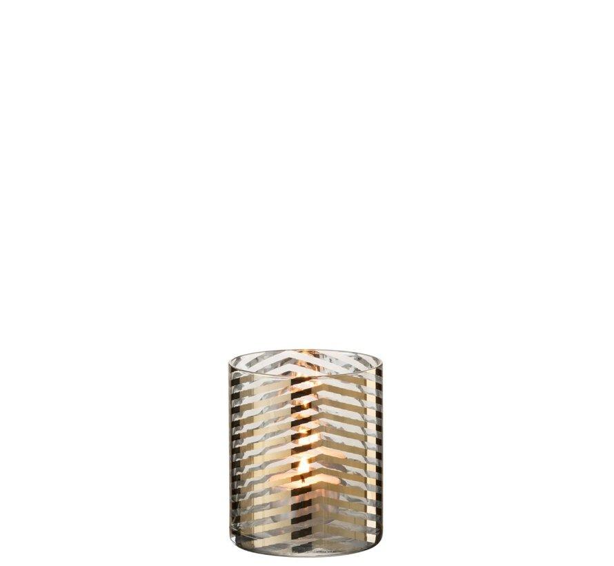 Theelichthouder Cilinder Glas Strepen Goud - Small