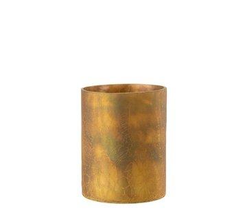 J -Line Theelichthouder Cilinder Glas Oker - Large