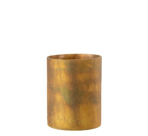 J-Line  Theelichthouder Cilinder Glas Oker - Large