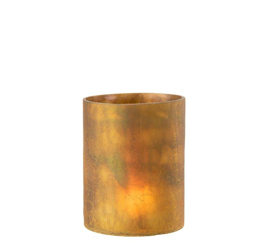 Tealight holder Cylinder Glass Ocher - Large