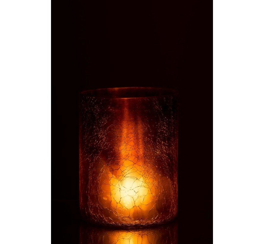 Theelichthouder Cilinder Glas Oker - Large