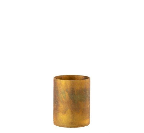 J -Line Theelichthouder Cilinder Glas Oker - Medium
