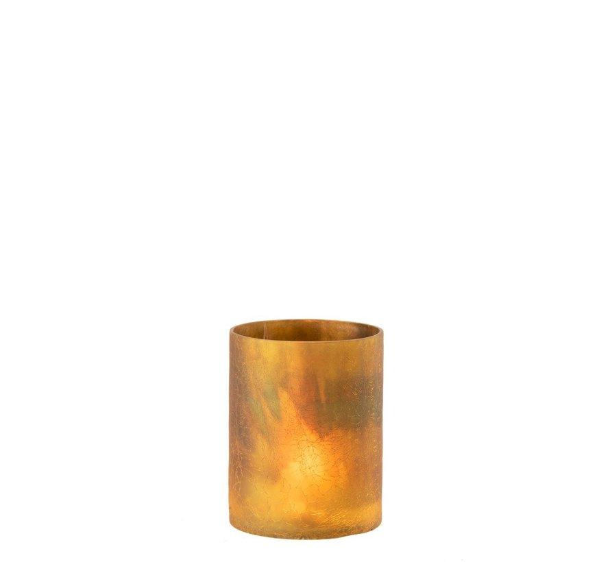 Theelichthouder Cilinder Glas Oker - Medium