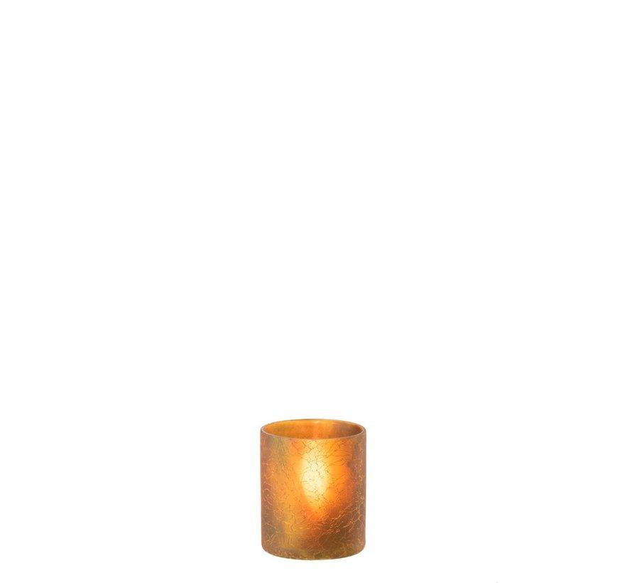 Theelichthouder Cilinder Glas Oker - Small