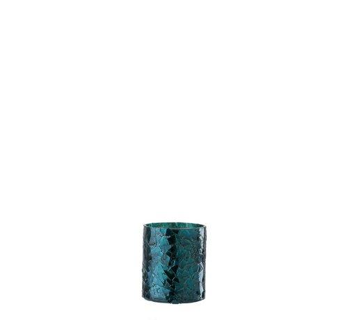 J-Line Tealight holder Cylinder Glass Glitter Blue - Small