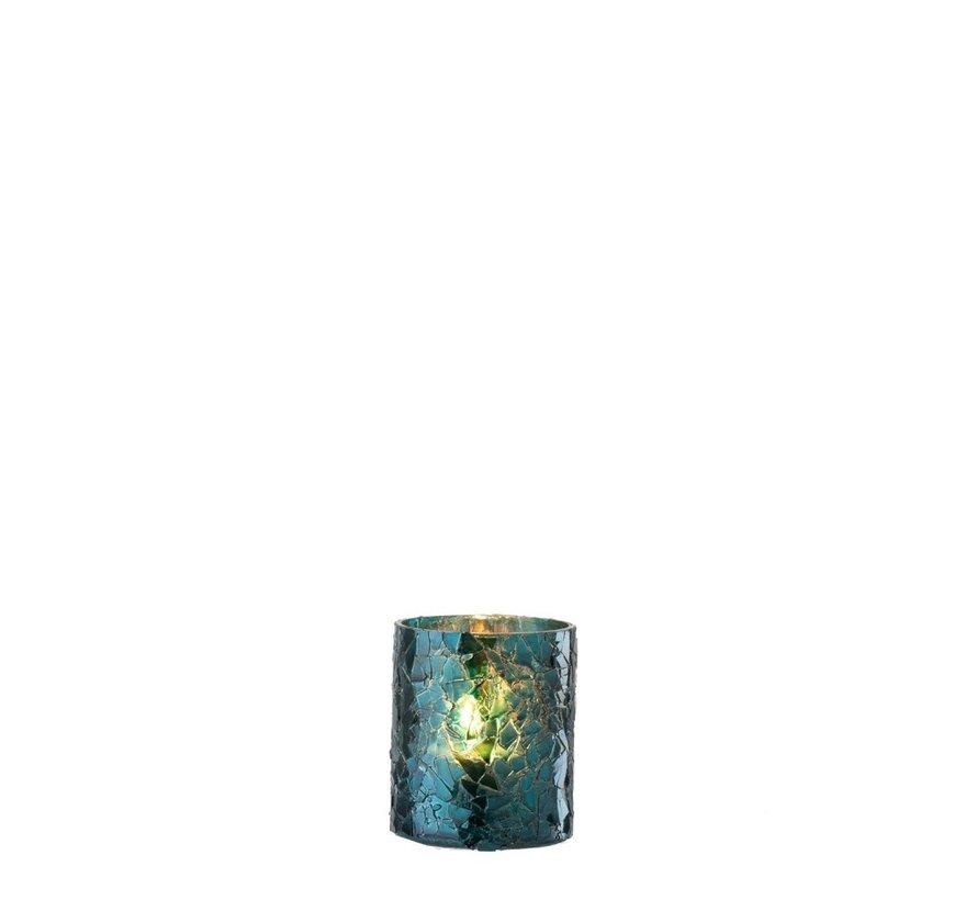 Tealight holder Cylinder Glass Glitter Blue - Small