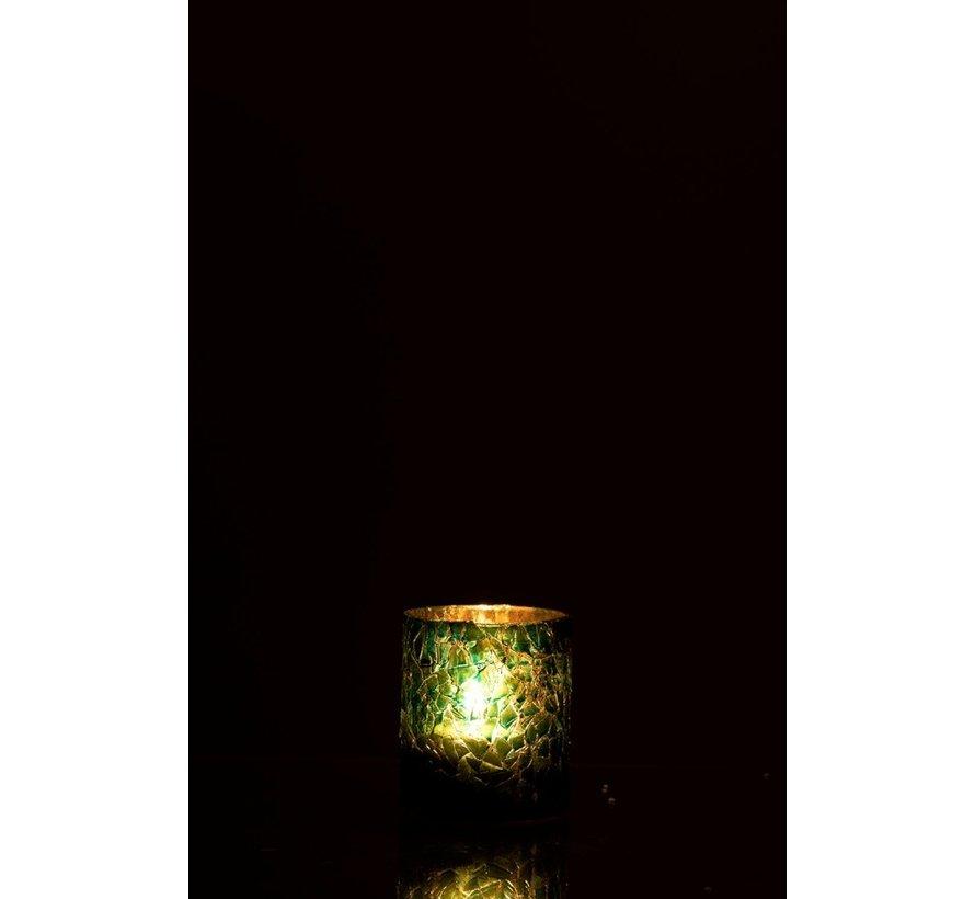 Theelichthouder Cilinder Glas Glitter Blauw - Small