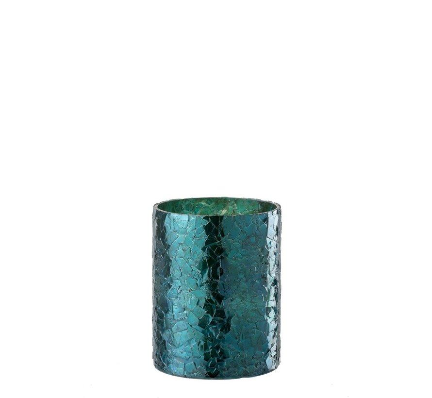 Theelichthouder Cilinder Glas Glitter Blauw - Medium