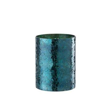 J-Line  Theelichthouder Cilinder Glas Glitter Blauw - Large