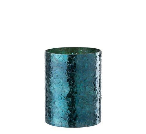 J -Line Theelichthouder Cilinder Glas Glitter Blauw - Large