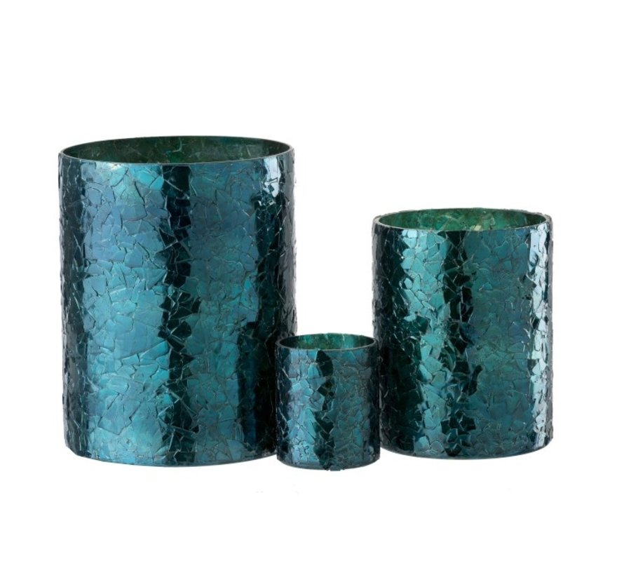 Theelichthouder Cilinder Glas Glitter Blauw - Large