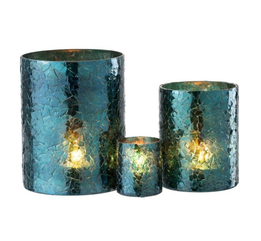 Tealight Holder Cylinder Glass Glitter Blue - Large