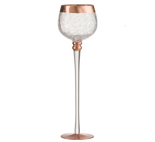 J -Line Tealight Holder On Base Sphere Broken Glass Transparent Copper - Large