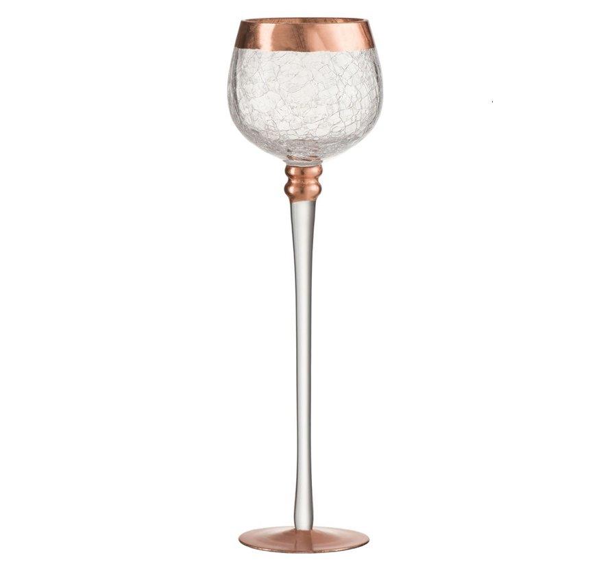 Tealight Holder On Base Sphere Broken Glass Transparent Copper - Large