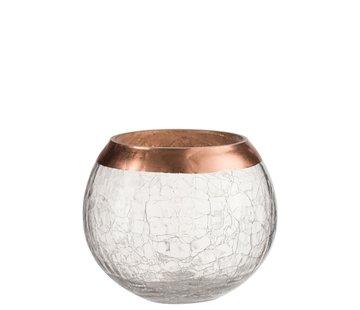 J -Line Theelichthouder Bol Gebroken Glas Transparant Koper - Large