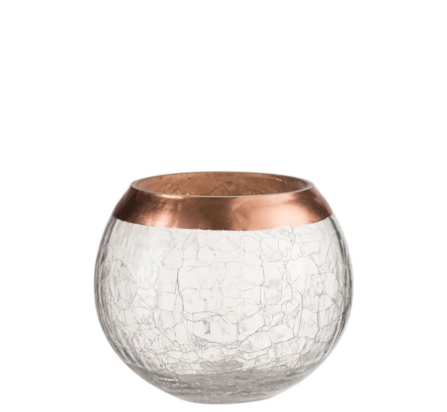 Theelichthouder Bol Gebroken Glas Transparant Koper - Large