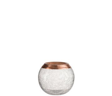 J -Line Theelichthouder Bol Gebroken Glas Transparant Koper - Small