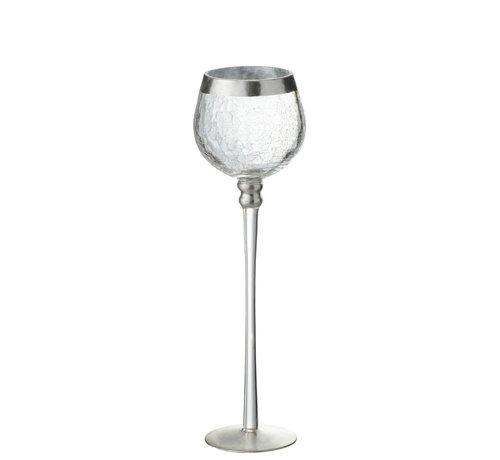 J -Line Theelichthouder Op Voet Bol Gebroken Glas Transparant Zilver - Large