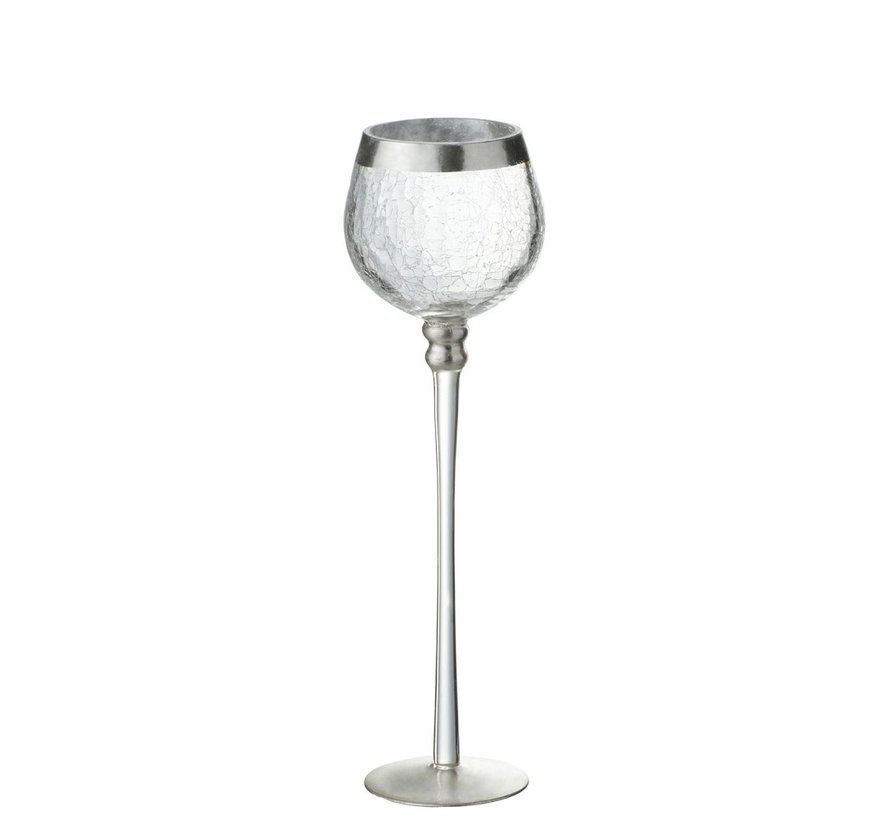 Theelichthouder Op Voet Bol Gebroken Glas Transparant Zilver - Large