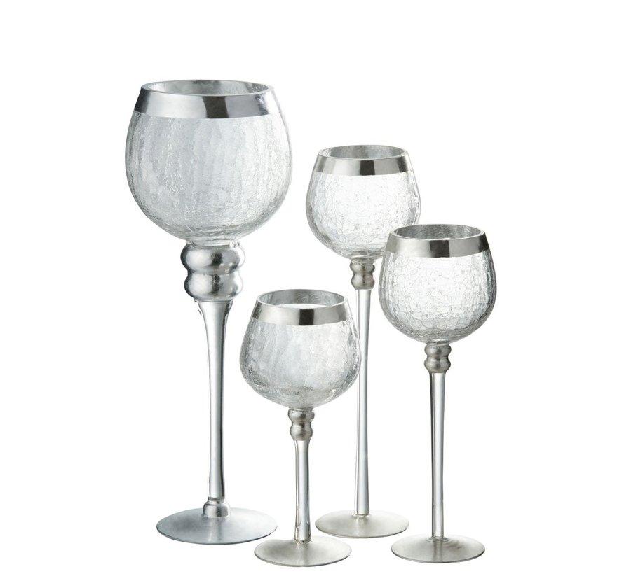 Tealight Holder On Base Sphere Broken Glass Transparent Silver - Large