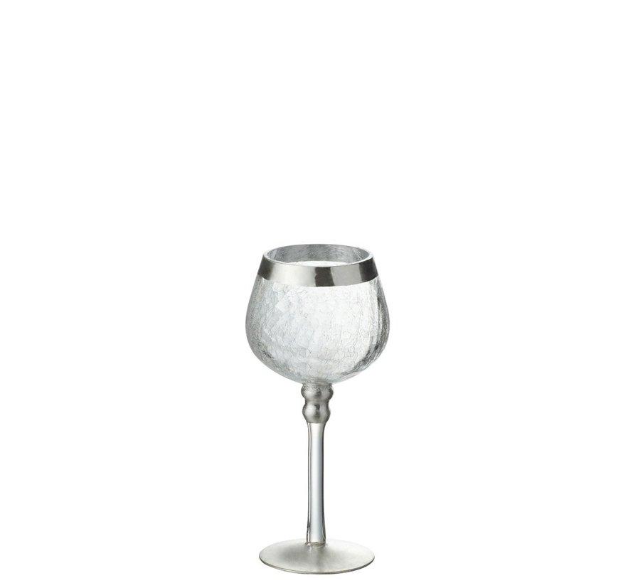 Theelichthouder Op Voet Bol Gebroken Glas Transparant Zilver - Small