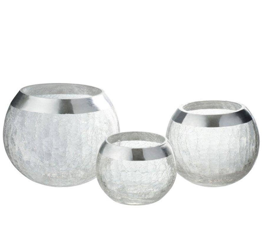 Tealight Holder  Sphere Broken Glass Transparent Silver - Large