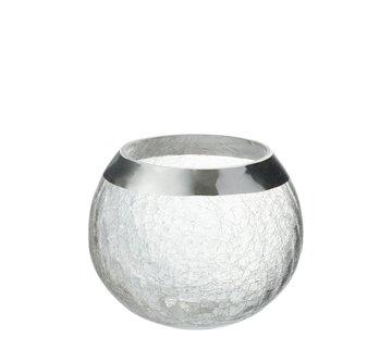 J -Line Theelichthouder  Bol Gebroken Glas Transparant Zilver - Large