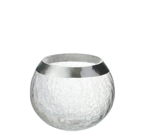 J -Line Tealight Holder  Sphere Broken Glass Transparent Silver - Large